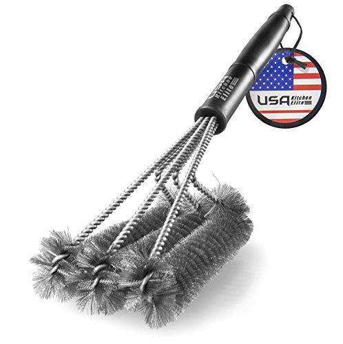 BBQ Grill Brush Stainless Steel ~ 18' Barbecue Cleaning Brush ~ Perfect Cleaner & Scraper for All Type of Grills ~ Great Grill Accessories Gift for Grilling Enthusiasts