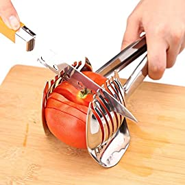 Best Utensils Tomato Slicer Lemon Cutter Multipurpose Handheld Round Fruit Tongs Stainless Steel Onion Holder Easy… 17 GERMANY DESIGN: Unique germany design makes slicing fruits and vegetables more quickly and easily MULTI-PURPOSE: Conveniently designed slicing aid, perfect tool for any task in the kitchen, ideal for tomatoes, onions, lemon, citrus fruit & more! DURABLE & SAFETY: Made of 100% food grade 18/8 Stainless steel Material, eco-friendly, durable in use. Clamp design, multifunctional, also couble be used as food tongs.