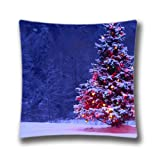 Sweet Home Happy Christmas Cotton Polyester Customized Pillowcase Xmas Stuff For Snow Christmas Lights Cushion Covers 50x50CM Pillow Case