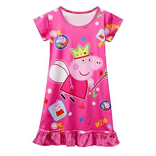 (Moebao Little Girl Pajamas Children Cartoon Pajamas Girl Comfortable Loose Pajamas Girl Printed Princess Skirt 3y - 8y)