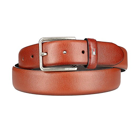 Leather Edge Feather - Tommy Hilfiger Men's Smooth Feather Edge Leather Belt, 34, Brown