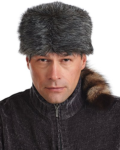 (frr Faux Fur Coonskin Cap with Real Raccoon Tail - XL)