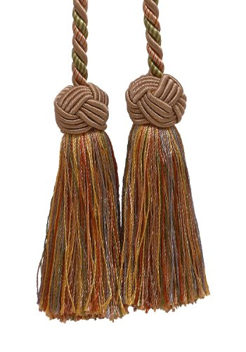 DecoPro Double Tassel/Lt Bronze, Olive Green, Terracotta/Tassel Tie with 3.5 inch Tassels, Baroque Collection Style# BCT Color: Chaparral 5615 ()