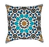Bonab Arabic Blue Mosaic Mandala Throw Pillow
