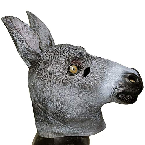 Donkey Mask, Deluxe Novelty Halloween Costume Party Latex Animal Horse Head Mask Gray]()