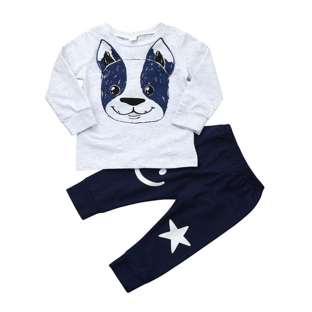 0-24 Months Toddler Long Sleeve Outfit, Baby Boys Girls Cartoon Dog Ears Tops+Pants 2Pcs Set Clothes