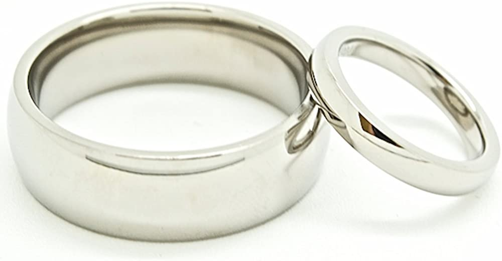 Matching 3mm /& 8mm Classic Domed Titanium Wedding Bands See listing for sizes