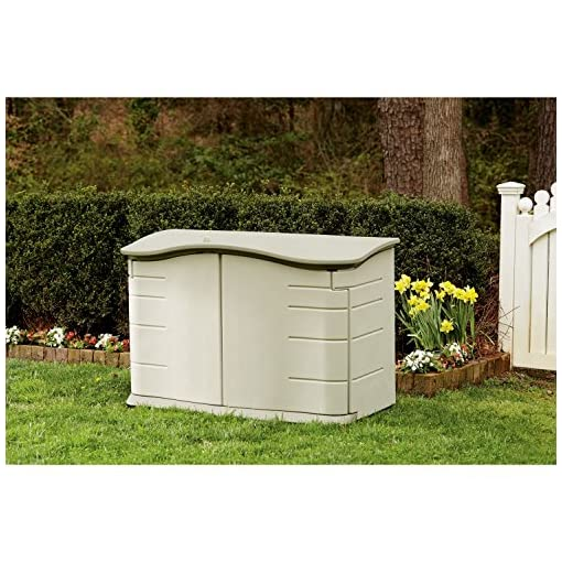 Garden and Outdoor Rubbermaid – FG374801OLVSS Small Horizontal Resin Weather Resistant Outdoor Garden Storage Shed, Olive and Sandstone… outdoor storage sheds