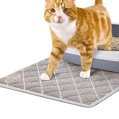 Pet Union Jumbo Cat Litter Mat, 35 x 22 in, Fashionable Design, Phthalate Free, Captures and Traps Litter, Slip…