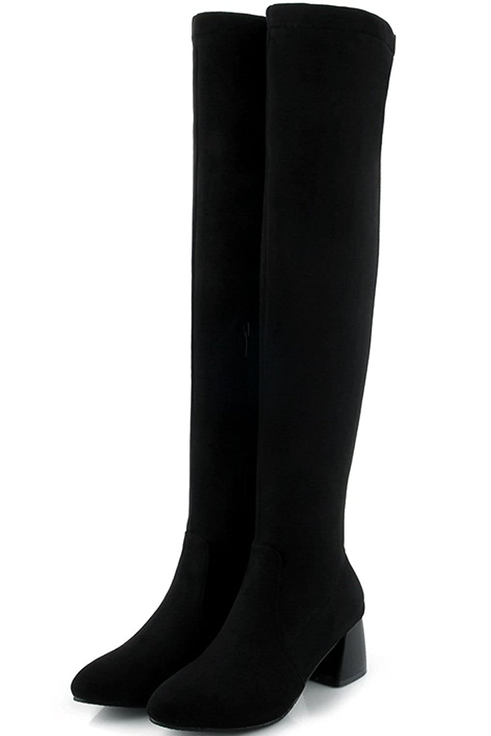 Bigtree Thigh High Boots Women Fall Winter Block Casual Faux Suede Zipper Comfortable Over The Knee Boots