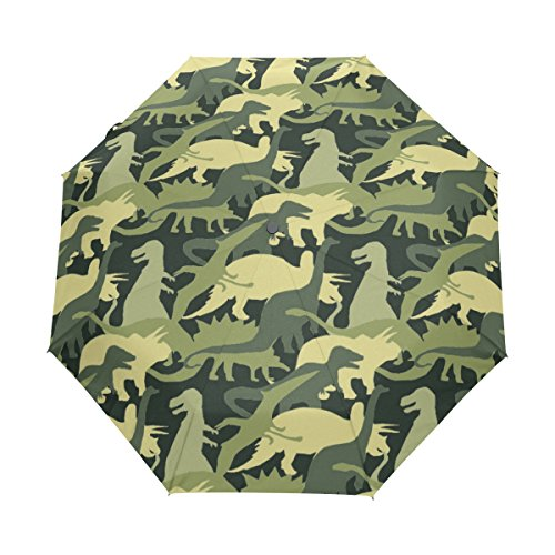 Naanle Camouflage Army Pattern Dinosaur Auto Open Close Foldable Travel Umbrella