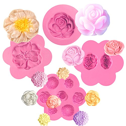 Funshowcase Flower Fondant Silicone Mold for Sugarcraft Cake Decoration, Cupcake Topper, Polymer Clay, Soap Wax Making Crafting Projects 4-Count by FUNSHOWCASE