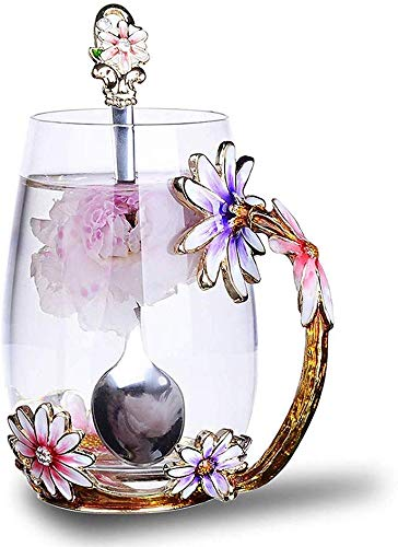 Luka Tech Enamels Butterfly flower Lead-free Glass Coffee Mugs Tea Cup with Steel Spoon, personalised Gifts For Women Wife Mom Friends Birthday Mothers Valentines Day Wedding