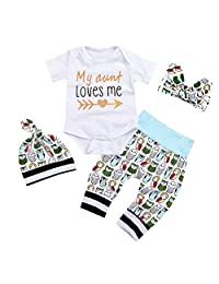 Imcute Newborn Baby Girls Owls Outfit Set 4pcs Unisex Baby Clothes My Aunt Loves Me