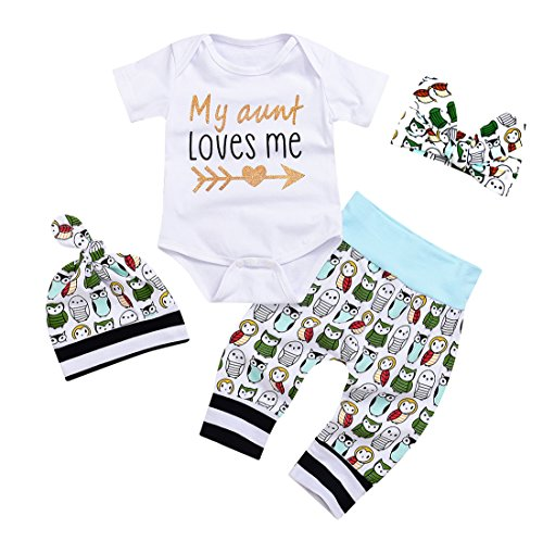 Newborn Baby Girls Owls Outfit Set 4pcs Unisex Baby Clothes My Aunt Loves Me (0-3 M, A)