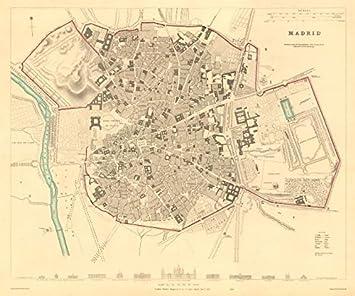 Madrid. Antiguo Ciudad Ciudad Mapa Plan. Original Outline Color. sduk Old Mapas de mapa, diseño envejecido Vintage de España – 1847: Amazon.es: Hogar