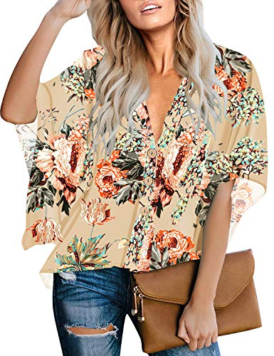 - LookbookStore Women's Summer Casual V Neck Apricot Floral Print Button Down Blouse 3/4 Batwing Bell Sleeve Loose Tops Shirt Size S 4 6