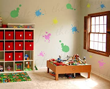 Paint Splatter Wall Mural Decals   Vinyl Graphic Art Playroom Kids Room  Play Classroom Splats Sticker