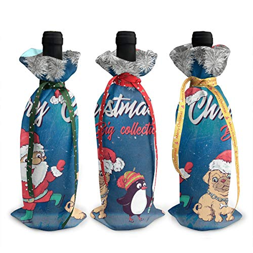 NBteach Monogrammed Christmas Pug Penguin Unicorn 3pcs Christmas Xmas Red Wine Glass Bottle Wraps Cover Bag Decorations Ornaments Theme Tasting Charms Accessories Gifts Set Party ()