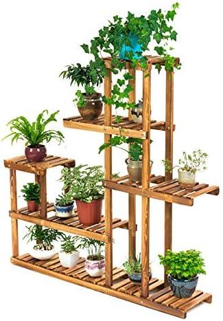 5ティアプラントスタンド、 竹盆栽表示ホルダー、 バルコニー表示ストレージラック 12個のポット付き パティオバルコニー芝生のために、 132 X 28 X 12センチメートル