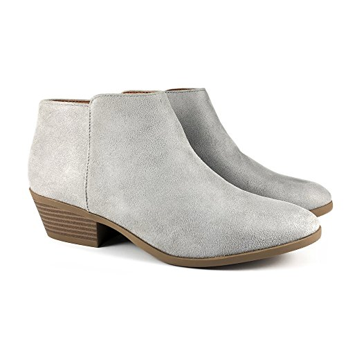 Block Stacked Soda Heel Lt Low Western Ankle w Bootie Chunky Grey Women's 4qS410
