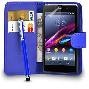 Mobi Plus Sony Xperia Z1 Azul Cartera de cuero del caso del tirón de la cubierta Pouch + Grandes Touch Pen Stylus + Protector de pantalla y paño de pulido