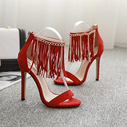 De Tobillo Plataforma 760 KJJDE Stiletto Mujer Alta Zapatos Clásica red Hueco Baile Fiesta Sandalias GZSL Tacón Correa W4 Cadena Sexy Borla CUwqPwx8