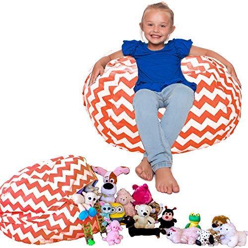 - Lilly's Love Kids Organizers and Storage Bean Bag Stuffed Animal Storage Chair Chevron (Orange)