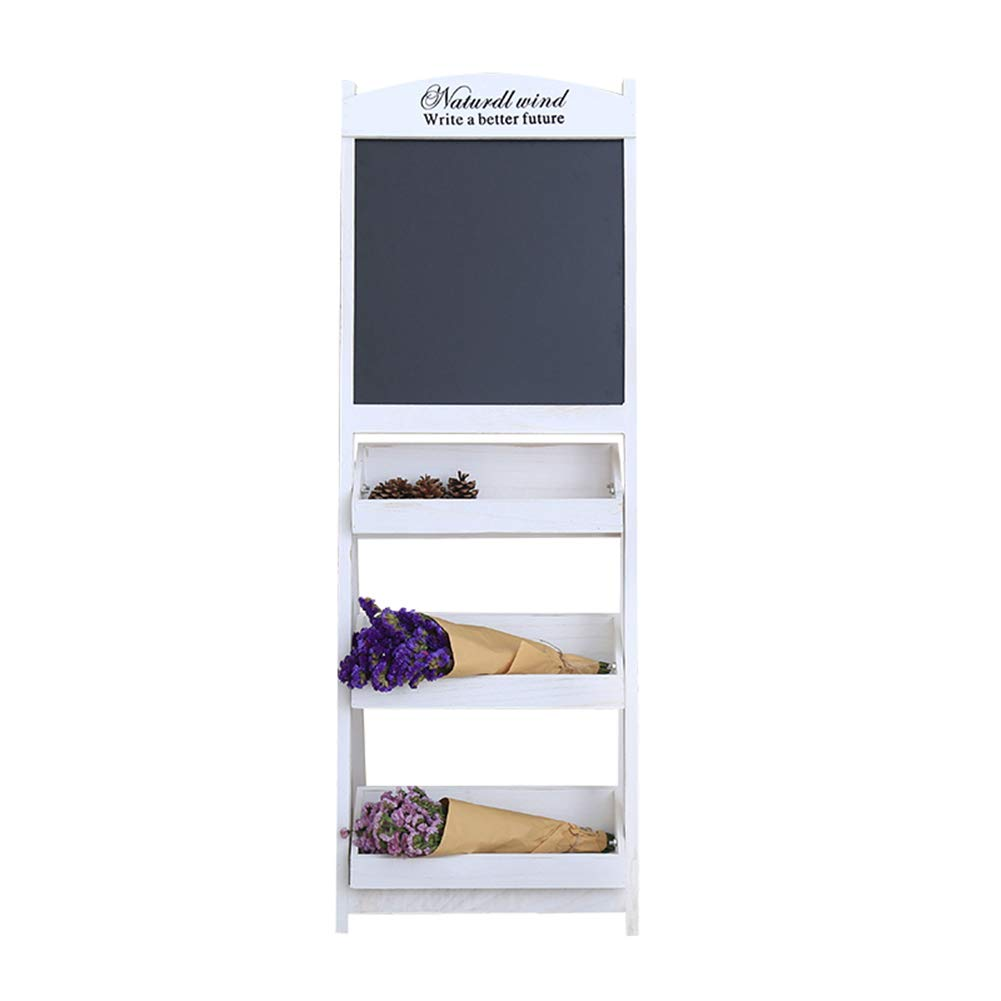 LIANGJUN Message Board Chalkboards Wooden Flower Stand Floor-Standing Support Storage Chalk Writing Coffee Shop, 3 Floors,2 Colours (Color : White, Size : 42x43x119cm) by LIANGJUN-lyj (Image #1)