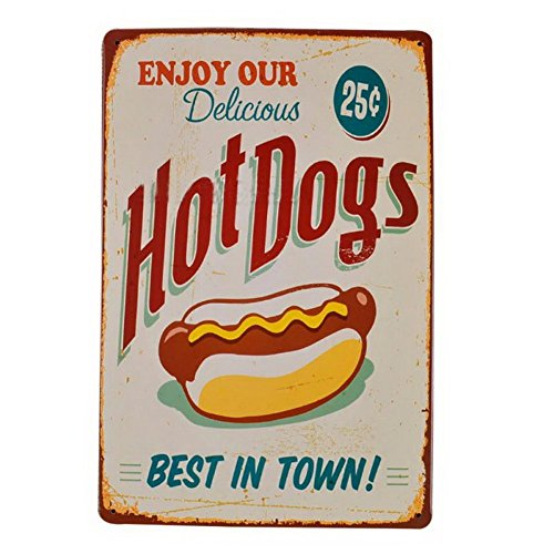 (EffortLife Enjoy Our Delicious Hot Dogs Tin Sign Retro Vintage Bar Signs 12 x 8 Inch)