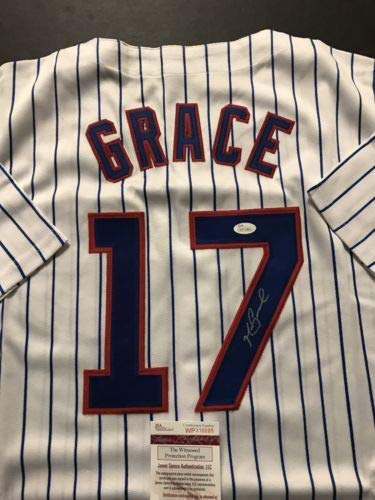 Autographed/Signed Mark Grace Chicago Cubs Pinstripe Baseball Jersey JSA -