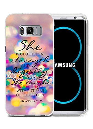 Galaxy S8cartuchera, purpurina versículos de la Biblia Proverbios 31: 25ella es Clothed en fuerza y dignidad y ella...
