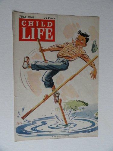 Pony, art,Child Life Magazine,1941 (cover only) cover art by Pony, boy walking on stilts