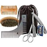 Beard Grooming Kit for Men Gift Set Mustache Care - Trimming Scissors, Brush, Comb, Straight Razor, Edger Template & Replacement Blades - Shaving Travel Case for Male