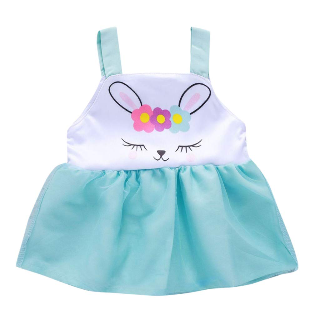 Buoyee Toddler Baby Girls Sleeveless Vest Easter Day Rabbit Print Dress Clothes