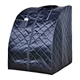 ALEKO PIN11BK Personal Folding Portable Home Infrared Sauna w/ Folding Chair and Foot Pad, Black