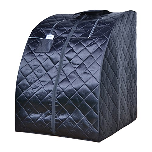 ALEKO PIN15BK Personal Folding Portable Home Infrared Sauna w/ Folding Chair and Foot Pad, Black by ALEKO