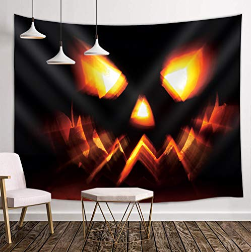 SZDR Tapestry Wall Hanging Halloween Pumpkin lamp Arras Personality Dormitory Decoration Bedroom Living Room Kitchen Party Hostel Parlour 51.2