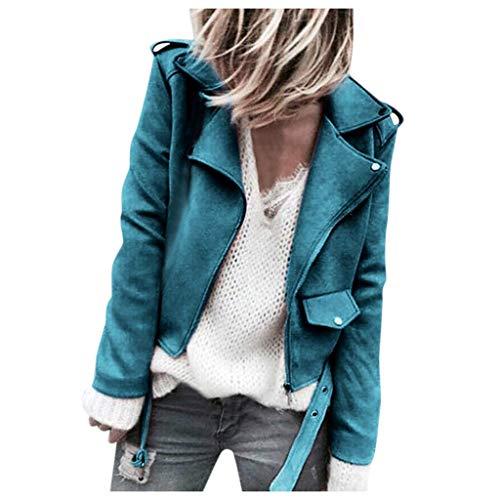 Loosebee◕‿◕ Women Coat,Women's Faux Suede Motorcycle Biker Short Coat Jacket Slim Zipper Jacket Blue