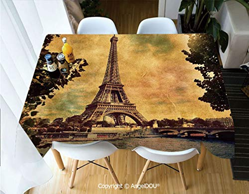AngelDOU Fashion Durable Polyester Printed Tablecloth Eiffel Tower Trees River Bridge Water Daytime Landmark Oil Painting Design Print for Kitchen Dining Room Outdoor Camping,W55xL82(inch)