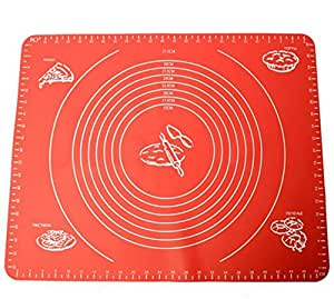Gabkey Large Massive Pastry Fondant Silicone Work Rolling Baking Mat with Measurements (Red)
