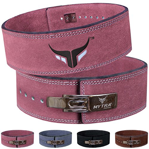 Mytra Fusion Leather Weight Lifting Power Lifting Back Support Belt Weight Lifting Belt Men Weight Lifting Belt Women Weightlifting Belt (Small, Pink) ()