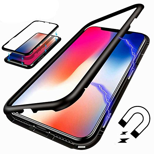 Anti Shock Case - iPhone 7 Plus/8 Plus Case, I-VIKKLY Ultra Slim [360° Full Protection] [Magnetic Adsorption] [Metal Frame Tempered Glass Back] [Support Wireless Charging] [Shockproof] Case for iPhone 8 Plus (Black)