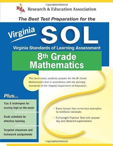 amazon com virginia sol grade 8 math virginia sol test preparation rh amazon com VA Standards Math SOL Test