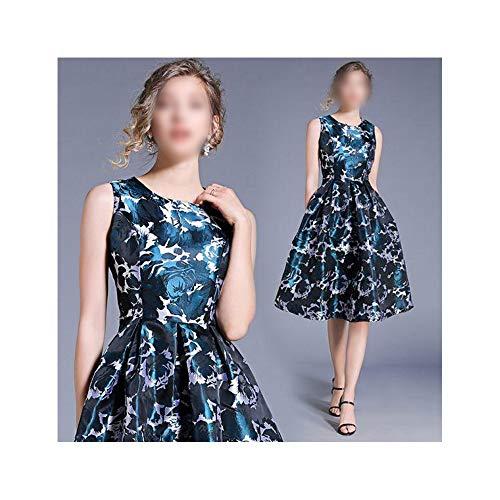 - MATCHANT Temperament Slim Fit Color Sleeveless Tank Jacquard Dress (Color : Picture Color, Size : 2XL)