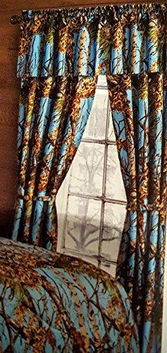 5 Piece Powder Blue Woodland Camo Curtain Set