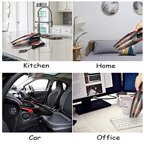 Handheld Vacuum,AUELEK Cordless Vacuum Cleaner,Rechargeable Car Vacuum Cleaner Lightweight Portable,Powerful Wet Dry Vacuum Cleaner with LED Light for Home and Car Cleaning