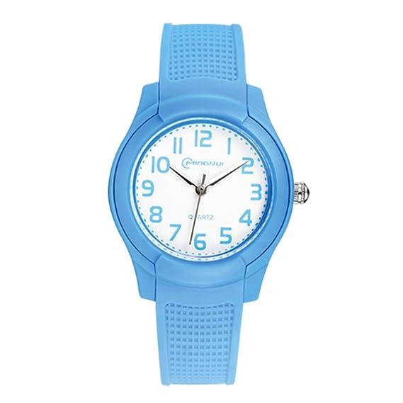 Niño] Resistente al agua reloj Niña Chico Estudiante Encantador] Relojes del cuarzo Jalea reloj de Goma Correa con hebilla pasador-F: Amazon.es: Relojes