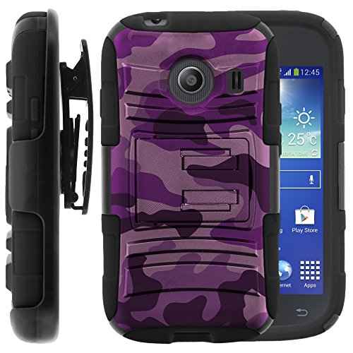 Samsung Galaxy Ace Style Case, Samsung Galaxy Ace Style Holster, Two Layer Hybrid Armor Hard Cover with Built in Kickstand for Samsung Galaxy Ace Style S765C SM-G310 from MINITURTLE | Includes Screen Protector - Purple Camouflage