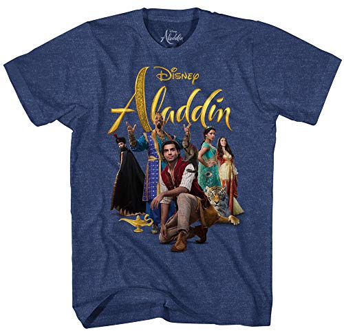 Disney Aladdin Live Action Movie Men's Adult Graphic Tee T-Shirt (Navy Heather, Medium)